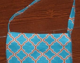 Turquoise and burnt orange lattice toddler purse