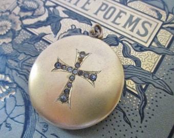 Antique Locket with Rhinestones locket with cross