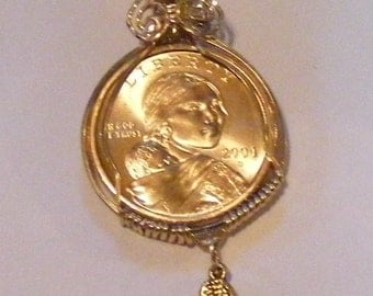 2004 D American Eagle Sacajawea Wire Wrapped Pendant With Wing Charm