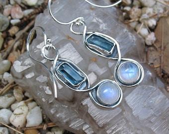 Rainbow Moonstone and Aquamarine Earrings, Dangle, Sterling Silver, Raw Crystal Jewelry, Handmade, Organic Jewelry