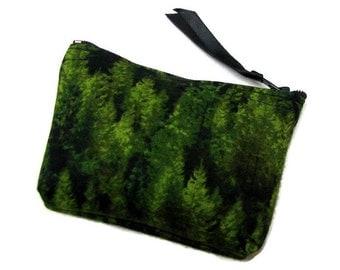 Coin purse, Small coin purse, Small zippered coin purse, Zipper coin purse, Wallet, Forest