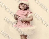 Girl in Pink Furry Winter Costume Antique Real Photo French Postcard Digital Scan