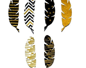 Feathers...Set Of 4 .... Fabric Iron On Appliques ...Six Designs
