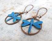 blue Dragonfly earrings copper patina hoop Rustic jewelry