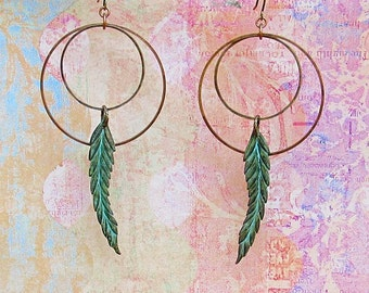 feather earrings copper patina earrings Bohemian jewelry 7th anniversary