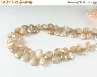 FLASH SALE Mystic Champagne Moonstone Faceted Gemstone Pear Flat Teardrop Briolette Beads 7mm - 8mm (8 beads)