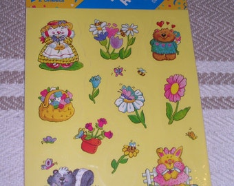 Vintage 1980's Post-it  Stickers Scratch'n Sniff 2 Sheets Floral  Cute Animals MIP
