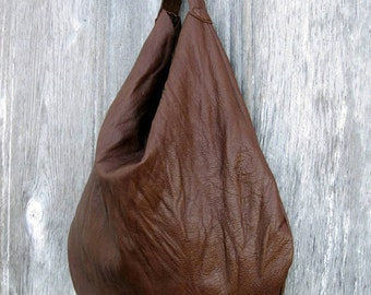 Washed Leather Slouchy Hobo in Chestnut Brown by Stacy Leigh Ready to Ship