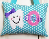 Tooth Fairy Pillow - Turquoise with White Dots