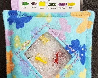I Spy Bag - Mini with SEWN Word List and Detachable PICTURE LIST- Butterfly Bonanza