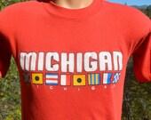 vintage 80s t-shirt lake MICHIGAN sailing travel semaphore flags tee Medium Small soft preppy