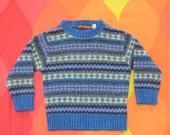 vintage 80s ski sweater SNOWFLAKE kid's children's 2 xs 2T toddler preppy 80s saddlebred blue