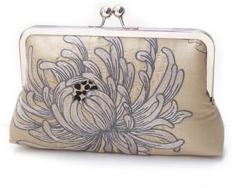 Chrysanthemum silk clutch bag, embroidered bridal purse, wedding clutch, bridesmaid gift