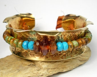 Beaded Brass Cuff, Hammered Cuff,  Zuni Mined Turquoise, Arizona Blue Turquoise, Hessonite Garnet, Mixed Gemstones, Brass Cuff- Grand Lake