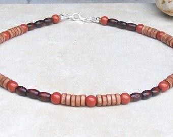 "Mens beaded 20"" necklace handmade, red jasper necklace, brown wood necklace, mens beaded necklace, necklace for men, mens bead necklace"