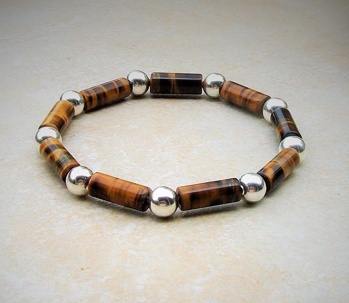 Men's beaded bracelet handmade tiger's eye and silver