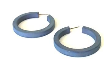 Blue Hoop Earrings | Denim Blue Hoops | Slate Blue Matte Classic Lucite Hoops by Leetie Lovendale