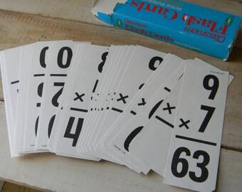 Vertical multiplication flash cards vintage school supply