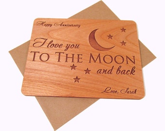 I Love You to the Moon and Back Anniversary Card - Real Wood Card