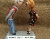 Custom Couple Personalized clay folk art sculptures Family Portrait on base based on your photos