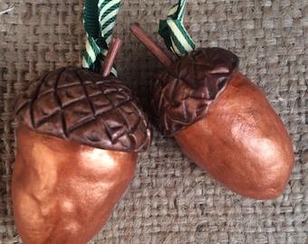 Metallic acorn set of two in copper folk art Christmas ornaments Ready to ship