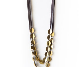 Unique Hand Made Brass Beads  Necklace, Two Strings Brass Necklace, Leather and Brass Necklace