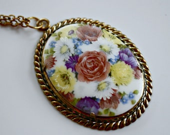 Vintage Rose & Daisy Pendant and Chain