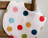 Baby Feeding Bib, Multi-color Polka Dots Bib, Organic Cotton Toddler Bib, Highchair Bib for Messy Eaters, Bright and Cheerful Bib for Babies