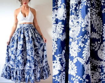 SPRING SALE/ 20% off Vintage 70s Navy Blue and White Floral Print Cotton Voile High Waisted Maxi Skirt (size xxs, xs)