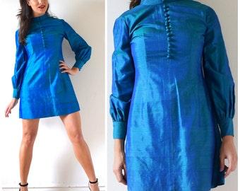 Vintage 60s Iridescent Blue-Green Thai Silk Mini Dress (size medium)