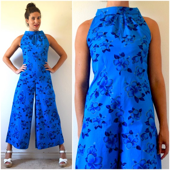 SPRING SALE/ 20% off Vintage 60s 70s Blue Hawaii Hibiscus Print Wide Legged Palazzo Pant Cotton Jumpsuit (size xs, small)