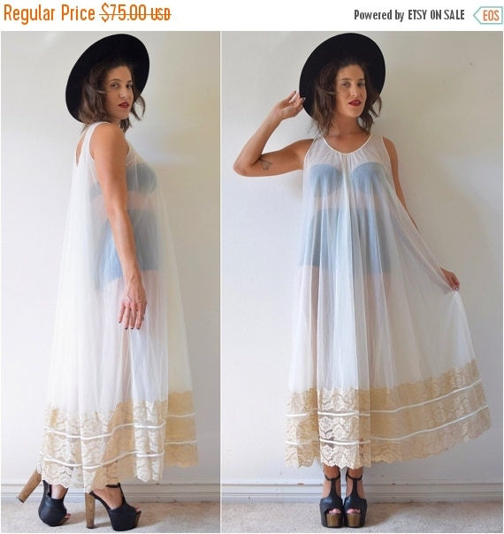 SUMMER SALE / 20% off RESERVED for Lisa Vintage 60s 70s Vanilla and Tan Lace Trimmed Tent Dress Negligee