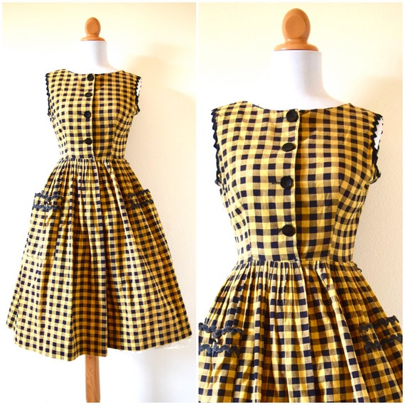 SPRING SALE/ 20% off Vintage 50s 60s Grand Central Station Yellow and Black Checkered New Look Cotton Dress (size xs, small)