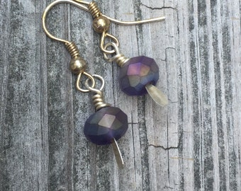 Dainty Dangles, Lilac Purple Periwinkle Iridescent AB Faceted Glass Bead Drop Dangle Earrings on Silver Plated Paddle Findings