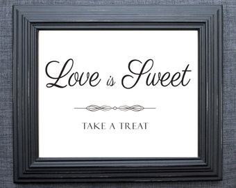 UNFRAMED Sweets Sign, Reception Sign, Wedding Decor, Love is Sweet, Treats Sign, Candy Bar Sign, Rustic Wedding, Etsy Weddings