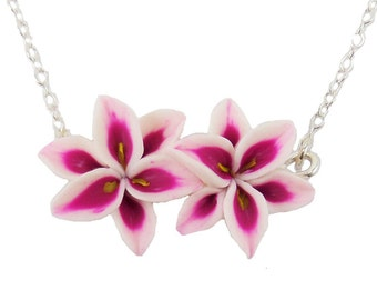 Double Stargazer Lily Necklace - Stargazer Lily Jewelry