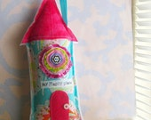 Whimsical Stuffed Fabric House Ornament Decoration My Happy Place