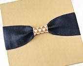 Keepsake Box - Baby Memory Book Addition, Navy Burlap with Orange Geometrical Accent
