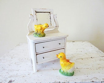 Vintage Chalkware Baby Chick Decoration, Easter Decor