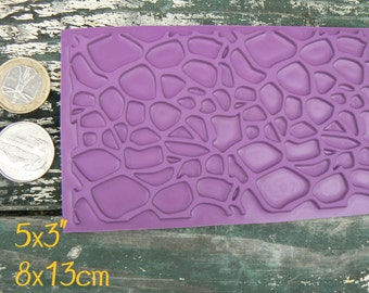 Pebble background rubber stamp for clay, paper, material, etc.