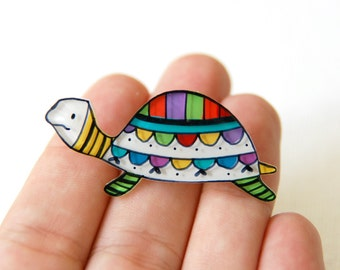 Turtle brooch, colorful jewelry, animal brooch, tortoise pin