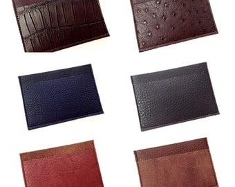 Card Holder, Slim Wallet, Pocket Wallet, Mens Wallet - Your Choice Vegan Leather