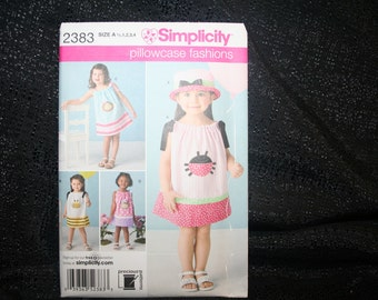 Simplicity 2383 Pillowcase Fashion Dress Toddler Girl Sewing Pattern, Girl Toddler Pillowcase Dress, Size's 1/2,1,2,3,4 Toddler, SEWBUSY12