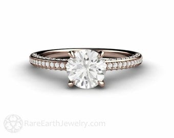1ct Pave Forever One Moissanite Engagement Ring Pave Solitaire Conflict Free Diamonds 14K or 18K Gold or Platinum