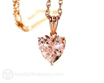14K Morganite Pendant Morganite Necklace 14K Rose Gold Gemstone Heart Pendant Bridal Jewelry