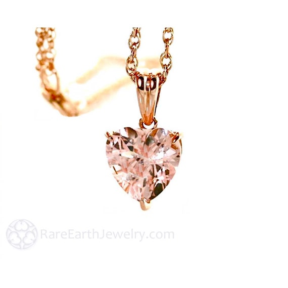14K Morganite Pendant Morganite Necklace 14K Rose Gold Gemstone Heart Pendant Bridal Jewelry