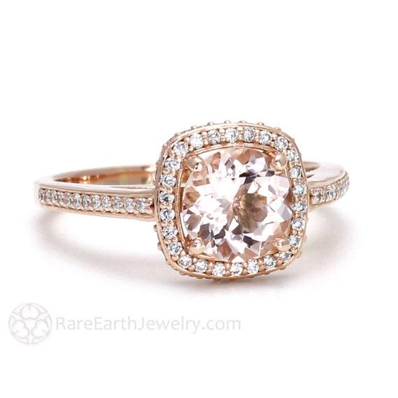 Bien-aimé Morganite bague diamant Halo Morganite bague de fiançailles ED86