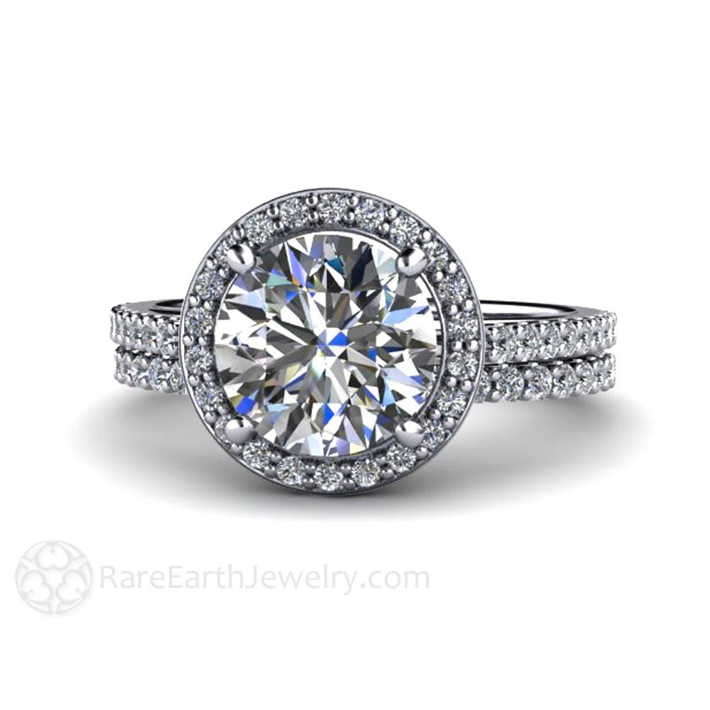 Moissanite Engagement Ring and Wedding Band Moissanite Ring