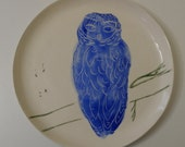 Large Blue and White Owl Plate Dish