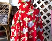 Royal Creations Hawaiian Dress, 1980s Hawaiian Sundress, 80s does 50s sz Large bust 36 38
